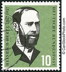 alemanha, -, circa, 1957:, um, selo, impresso, em, alemanha,...