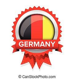 alemanha, vetorial, emblema, fita, vermelho