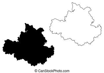 alemania, mapa, república, ciudad, vector, (federal,...