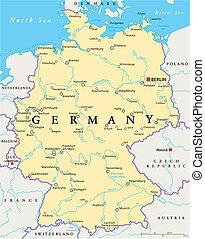 alemania, político, mapa