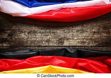 alemania, y, bandera francia, concepto, coalición, y, europa