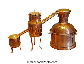 Alembic Copper - Distillation apparatus employed for the distillation of alcohol, essential oils and moonshine. Vintage wine distillery for the home made of the wine isolated on white.
