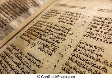 aleppo, codex, -, medieval, límite, manuscrito, de, el,...