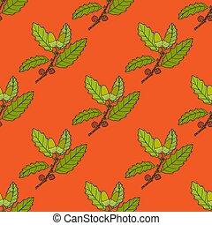 Aleppo oak branch seamless pattern. Hand drawn botanical ...