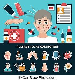 alergia, colección, iconos