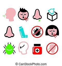 alergia, nasal, ícones, -, gripe, gelado, desenho, nariz, infecção