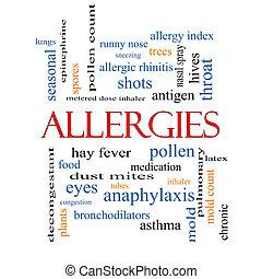 alergias, concepto, palabra, nube