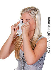 alergias, mulher, febre, feno