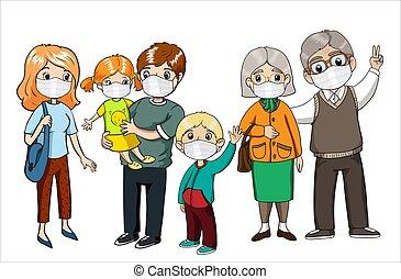 alert., 保護, protection., coronavirus, 家庭, masks., 穿, 病毒, covid-19