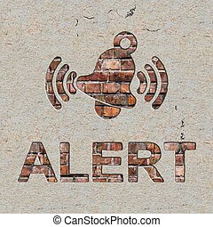 Alert Concept on the Wall. - Alert Concept with Ringing Bell...