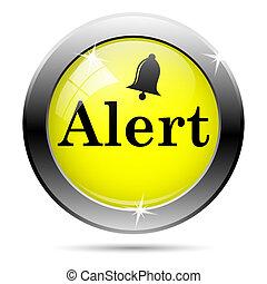 Alert icon - Metallic shiny glossy icon isolated on white...