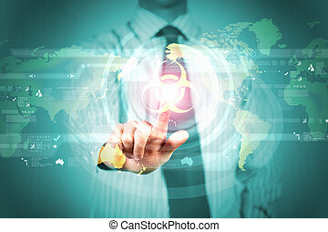 Alert message - Image of businessman touching virus alert...