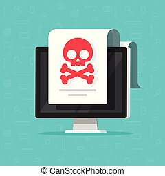 Alert notification on computer document vector flat cartoon style, malware concept, spam data doc, fraud internet error on desktop pc, insecure connection, online scam, virus attack