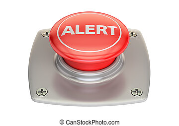 alert red button, 3D rendering