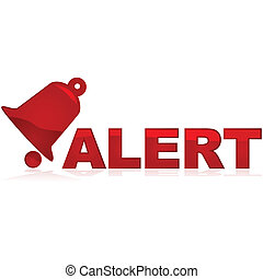 Glossy red icon showing a bell and the word alert beside it