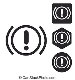 Alert sign icon set, monochrome