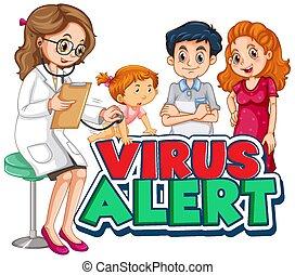 alerte, virus, docteur, conception, police, mot, girl, malade
