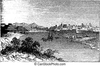 Alessandria city vintage engraving. In Piedmont, Italy, and the capital of the Province of Alessandria