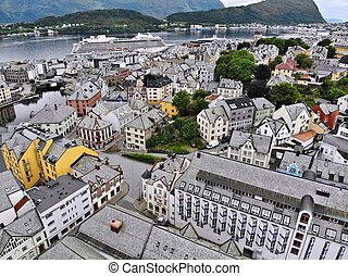 Alesund city, Norway - drone view