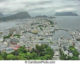 Alesund, Norway. Beautiful aerial city view in summer season