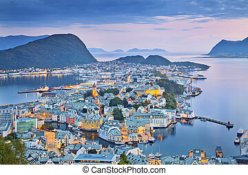Alesund, Norway. - Image of norwegian city of Alesund during...