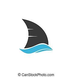 aleta del tiburón, ilustración