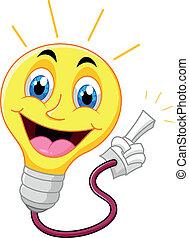 aleta, señalar, bombilla, luz, el suyo, caricatura