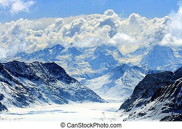 aletsch, alpi, ghiacciaio, svizzera
