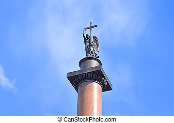 Alexander Column on blue sky background.