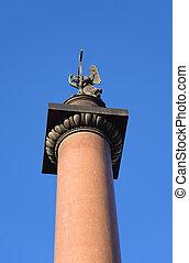 Alexander Column on blue sky background.