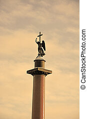Alexander column on Palace square, St.Petersburg, Russia