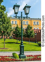 Alexander Garden and the western Kremlin wall in Moscow