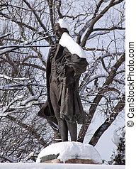 Alexander Hamilton Statue Pennsylvania Avenue Front of Treasury Department After the Snowstorm Washington DC