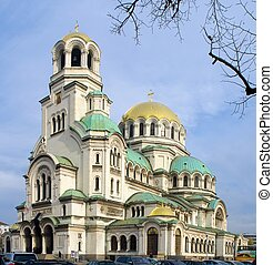 Alexander Nevsky cathedral and square in Sofia, Bulgaria.