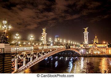 alexander, puente, en, parís, por la noche