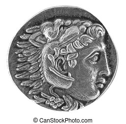 Alexander the Great Ancient Greek Tetradrachm 315 BC isolated in white