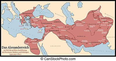 The Empire of Alexander the Great an his conquest course from Greece to India to Babylon in 334-323 B.C. with towns, provinces and year dates. German labeling! Isolated vector illustration.