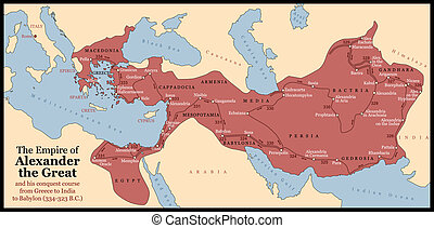 The Empire of Alexander the Great an his conquest course from Greece to India to Babylon in 334-323 B.C. with towns, provinces and year dates. Isolated vector illustration o black background.