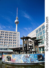 Alexanderplatz, view on Television tower. Berlin, Germany
