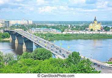 Alexandr Nevsky Cathedral and Kanavinsky Bridge Nizhny Novgorod Russia