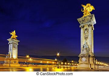 Alexandre III Bridge at the night view.Paris, France. -...