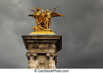 Alexandre III Bridge Pillar Close Up against Clouds, Paris, France