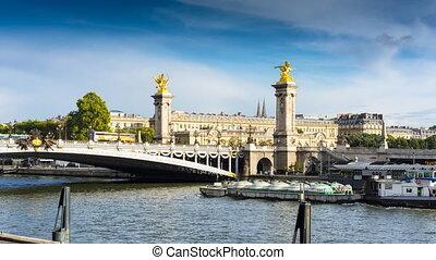 Alexandre III bridge and Seine river in Paris, France.