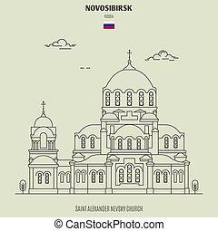 alexandre, repère, novosibirsk, nevsky, russia., saint, icône
