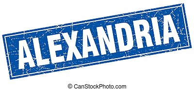 Alexandria blue square grunge vintage isolated stamp