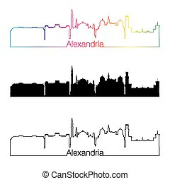 Alexandria skyline linear style with rainbow.eps