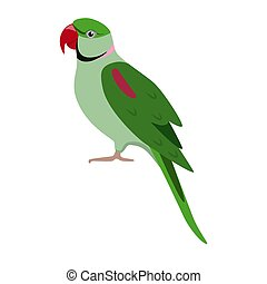 Alexandrine parrot icon in flat style