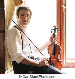 alféizar, sentado, músico, joven, violin., tenencia, violín,...