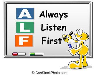 alf, always, whiteboard, acroniem, luisteren, eerst