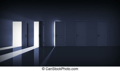 alfa, ajtók, opening., helyes, choice.